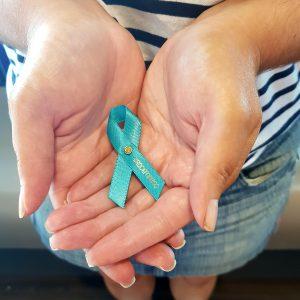 Teal ovarian cancer awareness ribbon pin